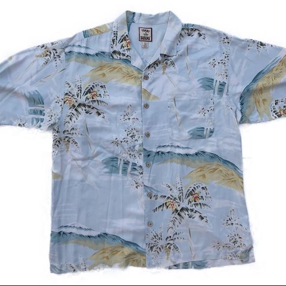 756bd15142bb Tommy Bahama 100% Silk Camp Shirt Blue Island - L.  M 5b16f8aa95199692b80657cc